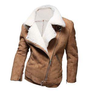 Chaquetas de invierno 2021 Hombres Moda Cálido Abrigo de lana de cordero más grueso de alta calidad Abrigos de gamuza de alta calidad sobre abrigos camello cremallera para hombre