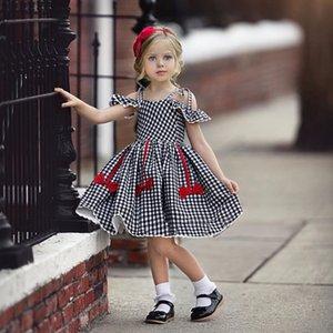 Cada meninas vestidos moda bebê crianças menina manga curta desligada ombro uma linha xadrez princesa vestido crianças vestidos de praia casual w1227