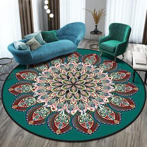 Ev Oturma Odası Halı Yatak Odası Odası Avrupa Retro Geometrik Desen Yuvarlak Halı Etnik Çiçek Mandala Giriş Battaniye 201219
