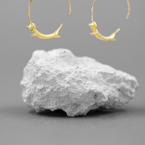 INATURE 925 Sterling Silver Cute Flying Dachshund Dog Hoop Earrings for Women Jewelry 201113