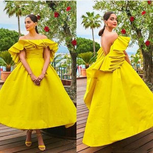 Modest Yellow Evening Dresses Sexy Backless Ruffles Ruched Custom Made Off the Shoulder Ankle Length Prom Dresses Plus Size L66