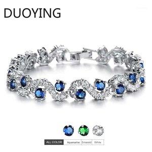 Yeni Moda Mavi Bilezik + Kübik Zirkonya Tenis Bilezikler Kadınlar Için Hediyeler Düğün Gelin Kristal Bileklik Jewelry1