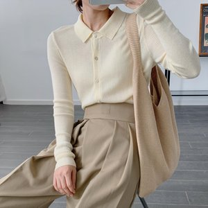 Womens Knitted Shirt Polos Neck Autumn 2020 New Knitted Cardigan Inside Outside Coat Base Shirt Coat