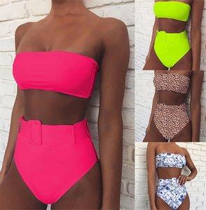 Sexy Women Push Up Padded Monokini Bikini Set Strapless High Waist Swimsuit Buckle Bodycon Beachwear Bathing Monokini