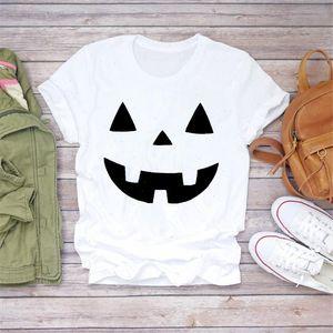 2021 Ghost Face Horror Halloween Print T Shirt Women Tshirts Halloween Season Casual White T shirts Tee Shirts Girls