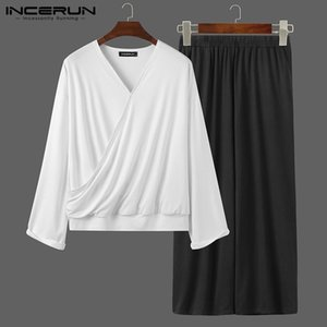 INCERUN Men Sets Solid Color V Neck Long Sleeve T Shirt Loose Elastic Waist Pants Streetwear Fashion Casual Mens Suits 2 Pieces