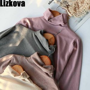 Lizkova Turtleneck manches longues Slim Pull Soft Pull Soft Pullover Automne 2020 Dames Casual Tops1