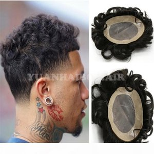 High Quality Natural Black Loose Wave Virgin Brazilian Human Hair Toupee for Men Lace with PU Free Shipping