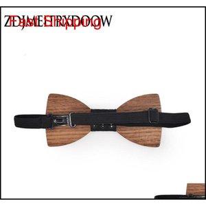 Cravatte per uomini legno bowtie jacquard tessuto cravatta hanky gemelli set per affari we qylbyu mj_fashion