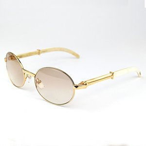 Oval Buffalo Horn Metal Carter Mens Sunglasses Brand Designer Wooden Sun Glass Women Wood Frame Glasses Shades