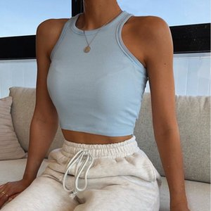 Women bare midriff Tank Top Solid color fashion women crop tops t shirt women clothes will and sandy drop ship