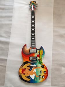 Редкий пользовательский магазин Разноцветные наклейки Электрические гитары SG Гитара 22 Фреты Хром оборудования Подбородок Гитары Бесплатная Доставка
