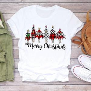 Women Tree Plaid Star New Year Cute 90s Merry Christmas Print Lady T shirts Top T Shirt Ladies Graphic Female Tee Shirt