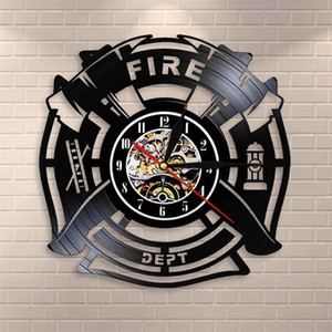 Fuego Rescue Fire Dept Sign Decoration Wall Clock Firefighter Vinyl Record Wall Clock Man Cave Bomberos Decorativo Reloj Watch 201202
