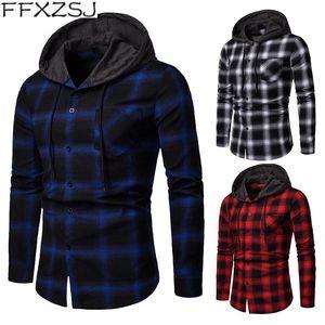 FFXZSJ Marca 2020 Menores de mediana edad, primavera y otoño, con capucha, camisa de manga larga, camisa de manga larga, acetato europeo