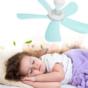 220V Blue 8W Silent Plastic Energy Saving Mini Ceiling Fan 5 Turn Page fan Hanging Soft Wind Household