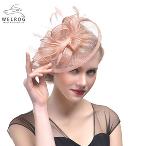 WELROG Fashion Mesh Fascinators Hat Women Wedding Cocktail Tea Party Solid Flower Feather Fascinator Headwear Hair Clip 201013