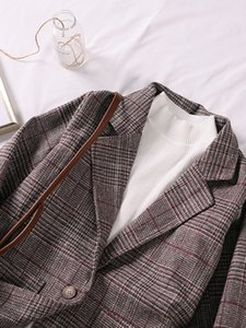 2020 New Autumn British Style Plaid Retro Short-Height Suit Jacket Womens Korean Style Loose-Fitting Casual Suit Fashion