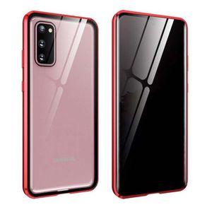 Anti Spy metal magnético Caso Privacidade Telefone vidro temperado para Samsung Galaxy Series S20 Magnet tampa protetora