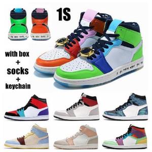 2020 Jumpman sans peur 1S Basketball Chaussures High Og 1 Milan Turbo Greü Unc Obsidian Shoe Twist Shadow Hommes Sports Formateurs en plein air