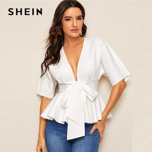 SHEIN Plunge Neck Tie Waist Peplum Top White Solid Slim Fit Womens Tops and Blouses Sexy Deep V Neck Summer Short Sleeve Blouse 201016