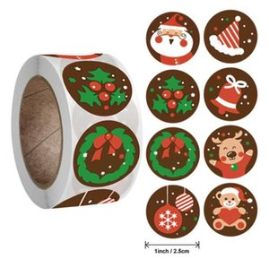 500pcs Roll Christmas Paper Sticker Decoration Letter Print Stickers Family Of 5 Ornament Pandemic Wall Posters for Gift Wall Sticker