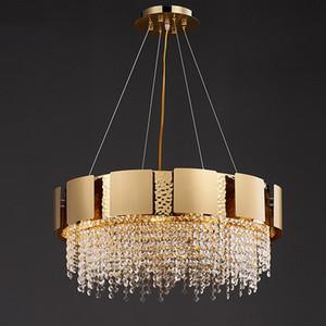 Round modern chandelier lighting for living room gold home decoration crystal LED Pendant lamps dining room bedroom cristal light fixture