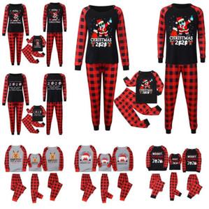 Рождественские рождественские плед пижамы две части семьи матча наряды 2020 2021 маска северный олень Santa пункт PJM набор детей родителей дома одежда E110301