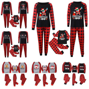 Natal xmas xmas pijama pijama de dois peças Family Match roupas 2020 2021 máscara rena santa cláusula pjm set kids pais casa roupas e110301
