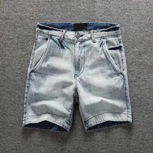الرجال الدنيم البضائع السراويل الرجال الركبة طول الجينز عارضة نمط السراويل زائد الحجم 36 38