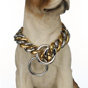 Luxury 19mm Stainless Steel Pet Dog Leash Titanium Steel Six-Sided Grinding Dog Collar Scarf Bulldog Bully Jarre Aero Bull Dobbin Fashion De