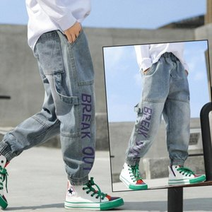 jean INS garçons chaud 4-13 ans coton lavé jeans enfants coréens 4 lettres de poche filles pantalons pour bébé fille enfants fH7A #