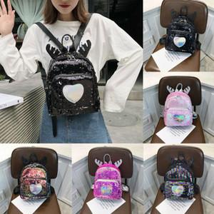 2020 più nuovo regalo di natale Antlers glitter paillettes Mini scuola dello zaino del sacchetto Zaino Viaggio Kids Love Cuore Piccola borsa calda ragazza delle donne