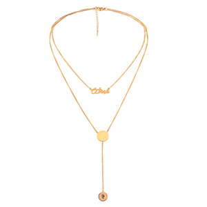 Multi-Element Fashion Stainless Steel Letter Necklace Golden Choker Necklace Round Pendant Geometric Necklace for Women