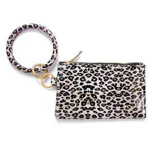 PU Keychain Bangle Wallet Woman Leather Handbag Wristlet Keychain Rainbow Leopard Sunflower Print Bracelet Bag Mobile Phone Bag Gift GWF5379