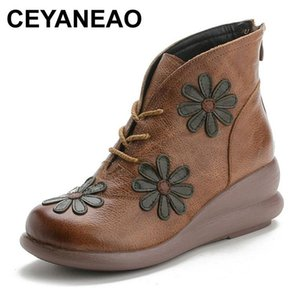 CEYANEAO Winter National Style Retro Handmade Women Boots Mother Warm Plush Genuine Leather Shoes Ladies Botas Mujer Invierno