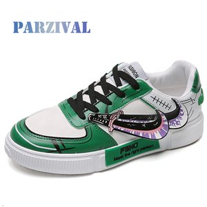 PARZIVAL Men's Anime Shoes Sneakers PU Leather Classic Men Vulcanized Shoes Casual Men's Boots Male One Piece Roronoa Zoro Shoes LJ201017