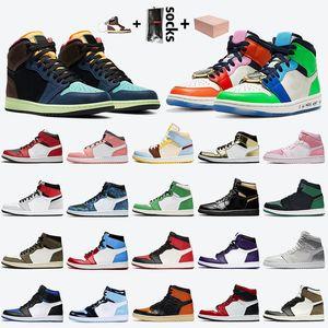 avec boite nike air jordan 1 retro 1 off white 1s stock x chaussures de basket-ball pour hommes jumpman 1 high OG Bio Hack FEARLESS Dark Mocha Lucky Green baskets