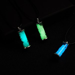 1PC 3 Colors Fluorescent stone in Glass Drifting Wishing Bottle Pendant Black Leather Chain Necklace Glow in the Dark