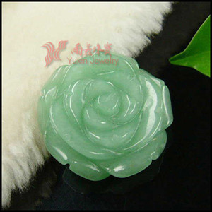 New Arrival !!! Fashion Green Aventurine Carved Rose Pendant Gemstone Flower Pendant Figurine Lucky Jewelry for Girl Gift RP05#