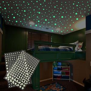 202 pcs set 3D Bubble Luminous Stars Dots Wall Sticker kids room bedroom home decoration decal Glow in the dark DIY Stickers