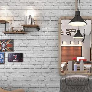 Waterproof White Brick Effect Wallpaper 3D Wall Papar Roll Modern Rustic Realistic Faux Brick Texture Vinyl PVC Wall Covering