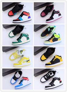 Chaussures de basket-ball de basket-ball enfants pour enfants Chaussures de jogging à fleurs florales Pin-couleur Chaussures de marche pour enfants Noir et jaune Chaussures de marche 22-37