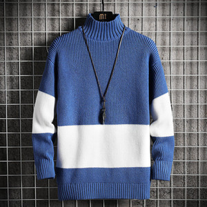 2021 New Spring Otoño Sweater Sweater Streetwear Japan Style Men Casual Harajuku Ropa de manga larga Turtelneck 86VS