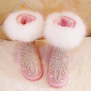 2020 Snowboots Australian Cropped Hand-Sewn Diamond Snow Fox Tubo de pele Tubo de algodão Botas das mulheres Tdzy