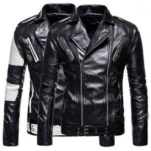 Spring Autumn Fashion PU Leather Lapel Neck Jacket Designer Mens Zipper Casual Short Coats Man Color-blocked Long Sleeve Jackets