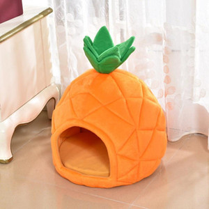 Cute Pineapple Dog Cat Beds Puppy Soft Dog House Warm Nest Kennel 2 Size Foldable Sleeping Pad Mat for Cat Beds Pet Products1