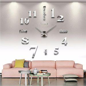3D Wall Clock Mirror Wall Stickers Creative DIY Clocks Removable Art Decal Sticker Home Decor Living Room Quartz Needle Hot