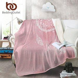 BeddingOutlet Dreamcatcher Coral velo Watercolor flanela cobertor por cama-de-rosa Colchas roxo azul lençóis quentes jH3y #
