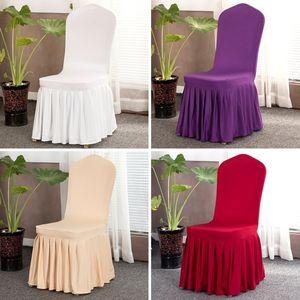 Saia plissada casamento cadeira Tampa Banquete Chair Protector Slipcover Elastic Spandex Cadeiras Covers decorações do partido T9I00665